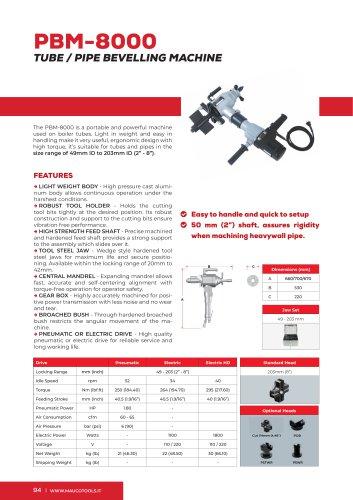Portable Beveler and Bevelling Machine PBM8000