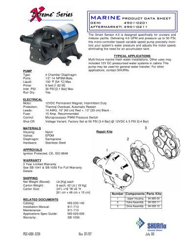 Smart Sensor™ 4.0 Fresh Water Pump (12 VDC) 4.0 GPM