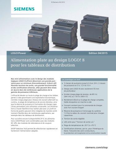 Alimentation plate de design LOGO! 8 pour les tableaux de distribution
