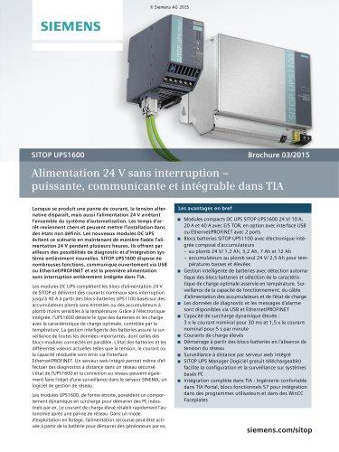 SITOP UPS1600: Alimentation 24 V sans interruption – puissante, communicante et intégrable dans TIA