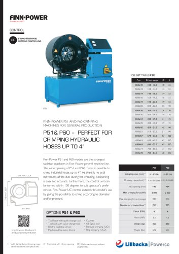 """P51& P60 – PERFECT FOR CRIMPING HYDRAULIC HOSES UP TO 4"""""""