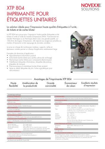 La brochure de XTP 804