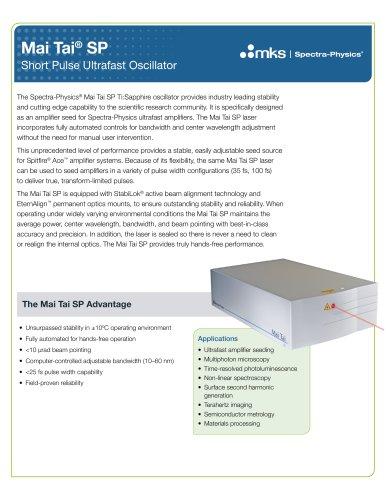 Mai Tai SP Short Pulse Ultrafast Oscillators