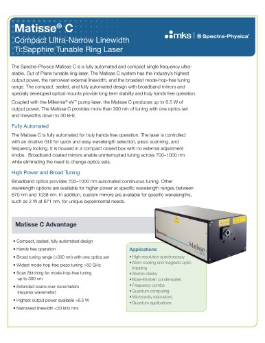 Matisse® C Compact Ultra-Narrow Linewidth Ti:Sapphire Tunable Ring Laser
