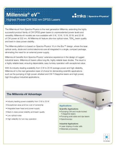 Millennia eV High Power CW 532 DPSS Lasers