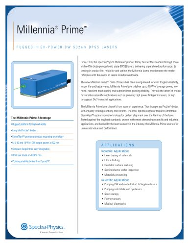 Millennia Prime Pump Lasers