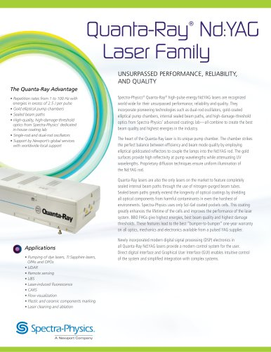 Quanta-Ray® Nd:YAG Laser Family UNSURPASSED PERFORMANCE, RELIABILITY, AND QUALITY