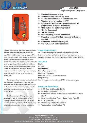 Industrial EXPROOF PHONE JREX103