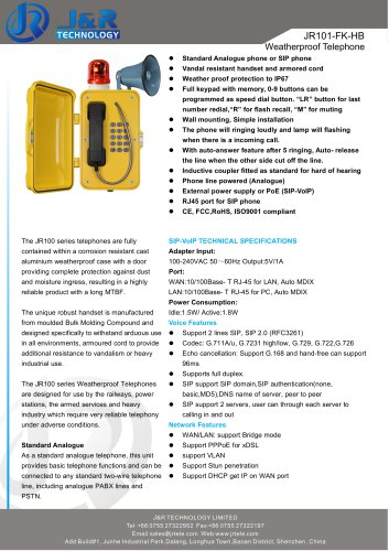 Water Resistant Industrial Telephone With Flasher&Horn JR101-FK-HB