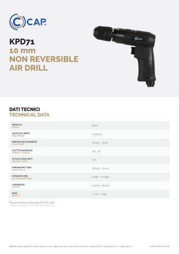 KPD71 10 mm NON REVERSIBLE AIR DRILL