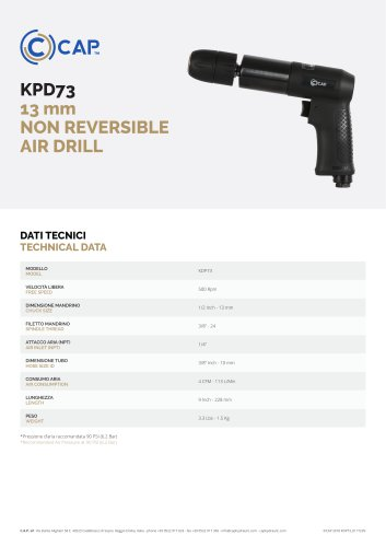 KPD73 13 mm NON REVERSIBLE AIR DRILL