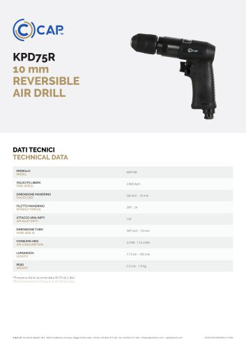 KPD75R 10 mm REVERSIBLE AIR DRILL