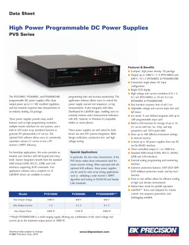 High Power Programmable DC Power Supplies PVS Series