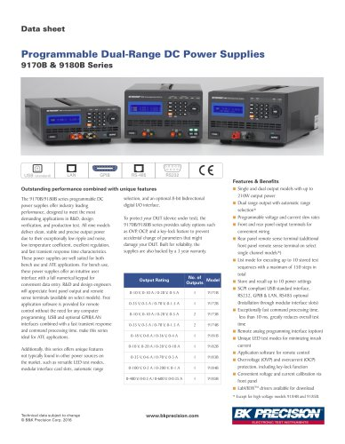 Programmable Dual-Range DC Power Supplies 9170B & 9180B Series