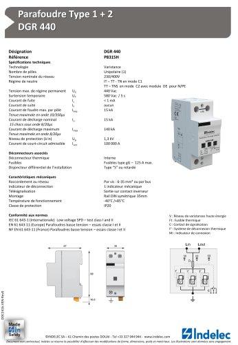 Parafoudre Type 1 + 2 – DGR 440