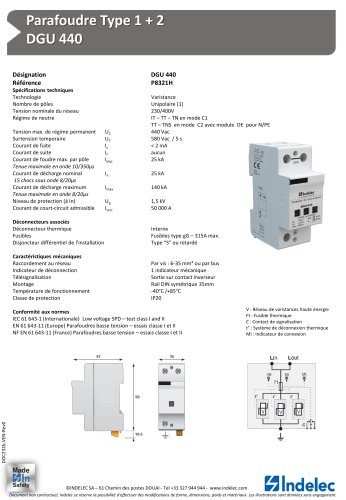 Parafoudre Type 1 + 2 – DGU 440