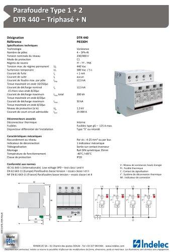 Parafoudre Type 1 + 2 – DTR 440 – Triphasé + N