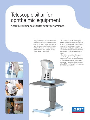 Telescopic pillar for ophthalmic equipment