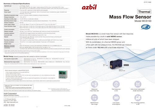 Mass Flow Sensor Model MCS100