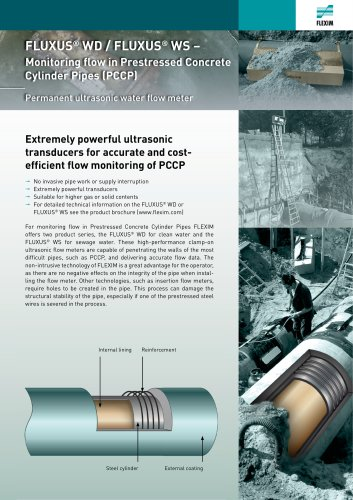 FLUXUS WD / FLUXUS WS - Monitoring flow in Prestressed Concrete Cylinder Pipes (PCCP)