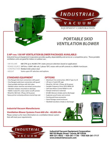 PORTABLE SKID VENTILATION BLOWER