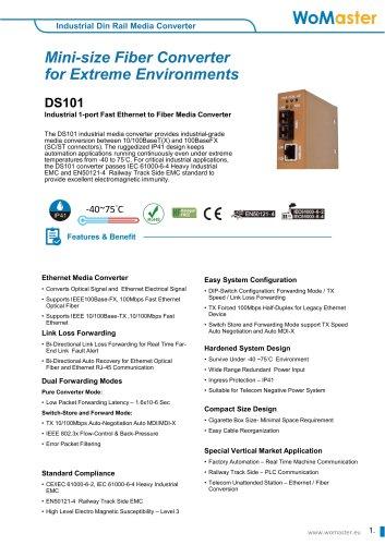 DS101_Industrial 1-port Fast Ethernet to Fiber Media Converter | WoMaster