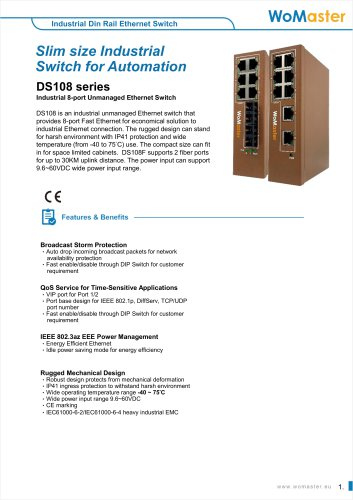 DS108 Industrial 8-port Unmanaged Ethernet Switch | WoMaster