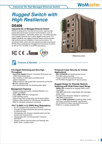DS409 Industrial 9G L2 Managed Ethernet Switch | WoMaster