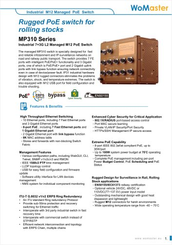 MP310 Industrial 7+3G L2 Managed M12 PoE Switch | WoMaster