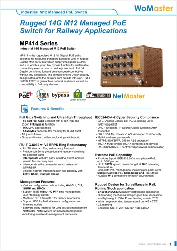 MP414- Industrial 14G Managed M12 PoE Switch | WoMaster