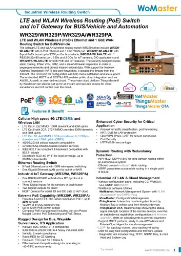 WR329P Industrial 8 PoE+ with 1G WAN and Dual Radio LTE/Wi-Fi Routing Switch for BUS/Vehicle | WoMaster
