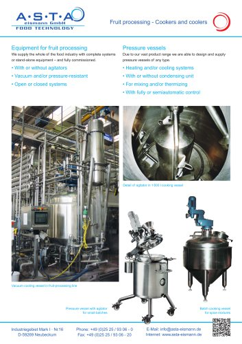 Fruit processing - Cookers and coolers