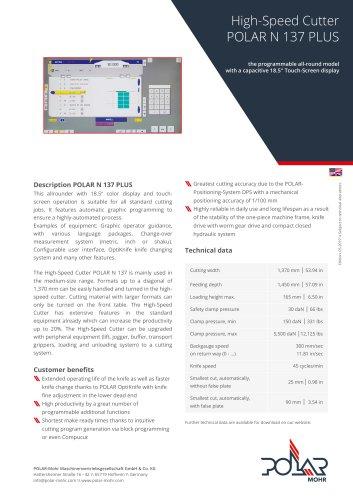 High-Speed Cutter POLAR N 137 PLUS
