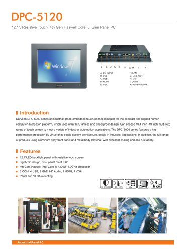 Darveen 12.1inch Resistive Touch Panel PC with I5 4200U/DPC-5120