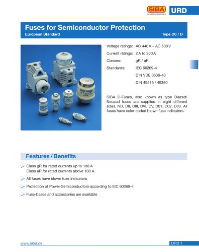 Fuses, semiconductor protection, european standard (URD)