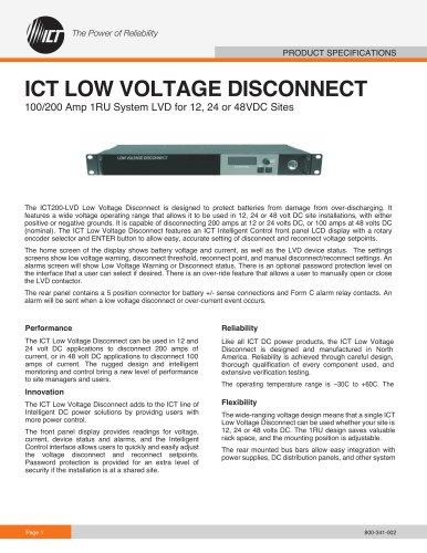 ICT LOW VOLTAGE DISCONNECT