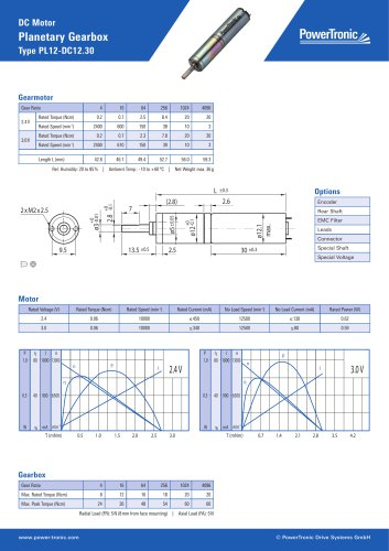 DC Motor Planetary Gearbox Type PL12-DC12.30