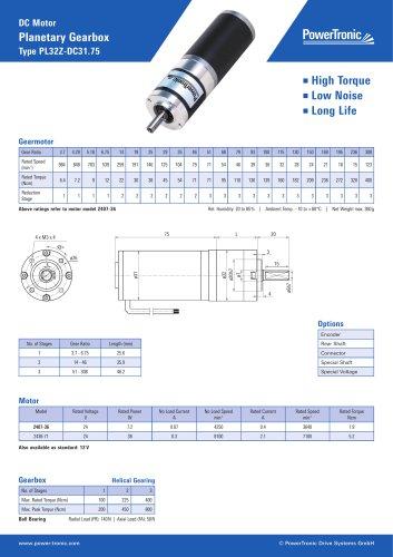 DC Motor Planetary Gearbox Type PL32Z-DC31.75