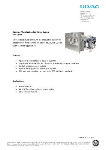 Backside Metallization Sputtering System SRH Series