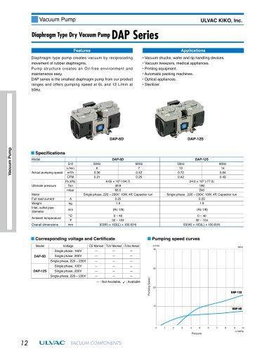Diamphragm Type Dry Vaccum Pump DAP Series