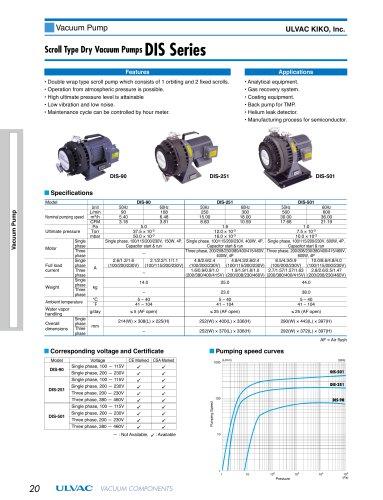 Sroll Type Dry Vaccum Pumps DIS Series