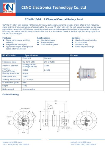 CENO 2 Channel Coaxial Rotary Joint RCN02-18-04
