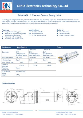CENO 3 Channel RF Rotary Joint RCN0303A