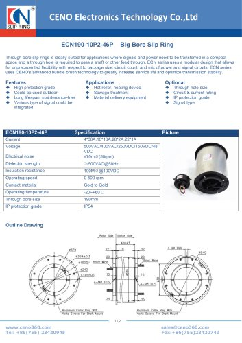 CENO Big Bore Slip Ring ECN190-10P2-46P