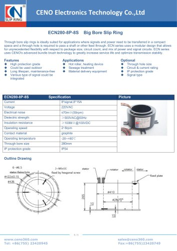 CENO Big Bore Slip Ring ECN280-8P-8S