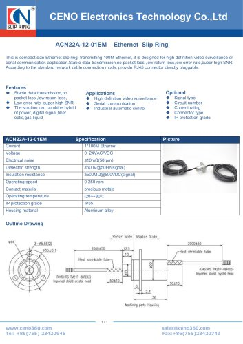 CENO Ethernet slip ring with diameter 22mm ACN22A-12-01EM