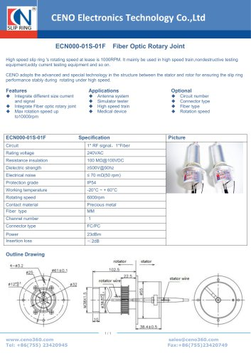 CENO Fiber Optic Rotary Joint ECN000-01S-01F