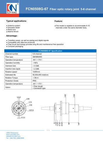 CENO Fiber optic rotary joint FCN0508G-67