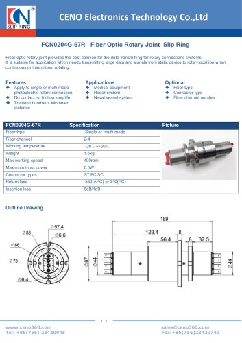 CENO Fiber optical rotary joint FCN0204G-67R