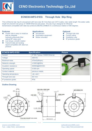 CENO Gigabit Ethernet slip ring ECN038-04P2-01EG